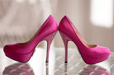 bright pink sparkly shoes  masquerade ball wedding