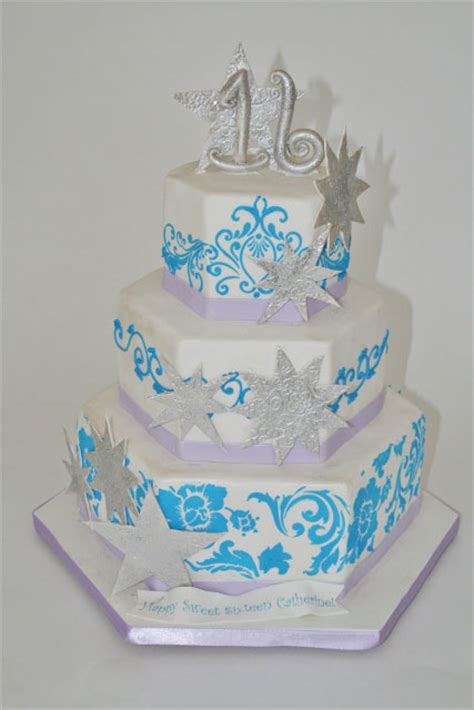 sweet  birthday cakes silver  teal stars custom cake