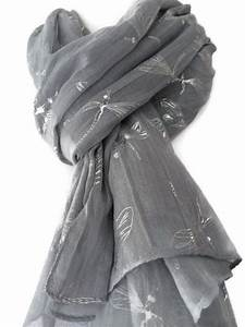 Grey Scarf With Silver Dragonfly Print Ladies By