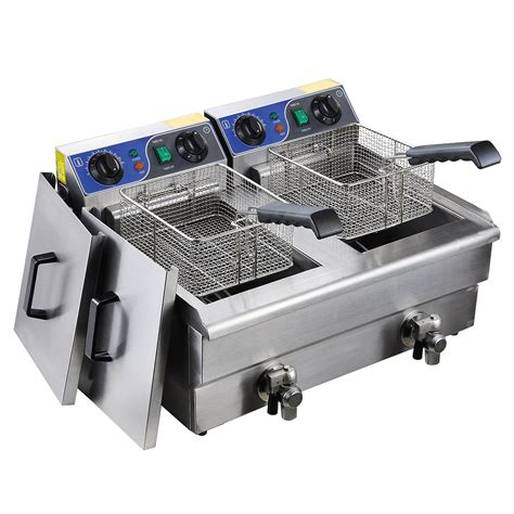 fryer deep commercial electric basket steel french dual stainless timer drain tank 20l cooker restaurant fry fryers frying koval kitchen