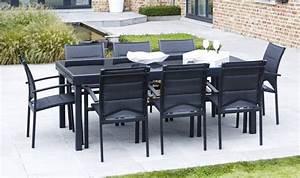 Salon De Jardin 12 Personnes : salon de jardin aluminium noir pour 12 personnes table ~ Dailycaller-alerts.com Idées de Décoration