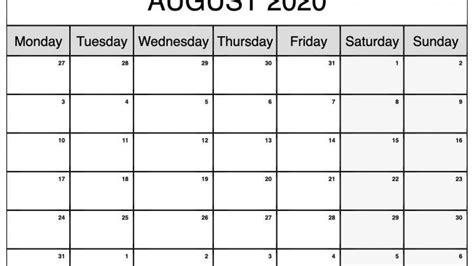 fillable august  calendar blank template
