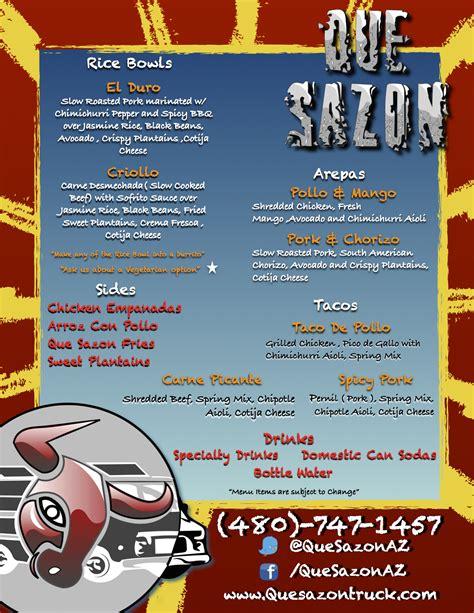 menu cuisine az que sazon az food truck feeds