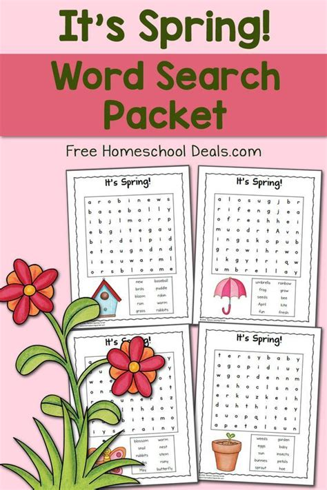 spring word search packet instant