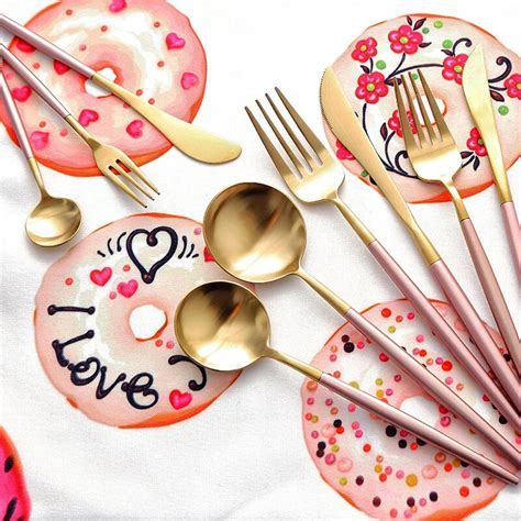 korean stainless tableware dinnerware steel flatware fork handle knife scoop soup main elegant gracile long sets pcs