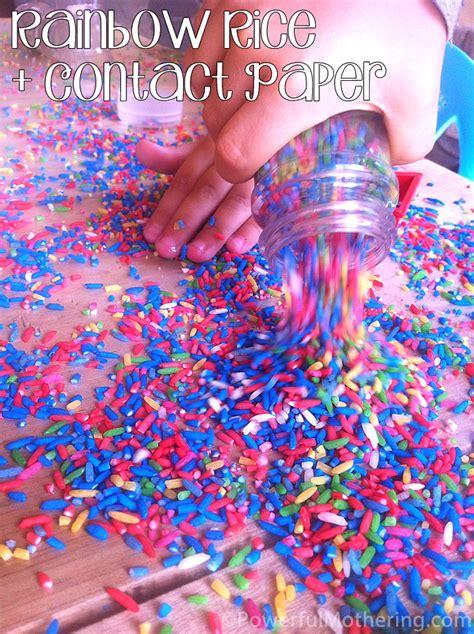 rainbow color rice  contact paper  preschool activity