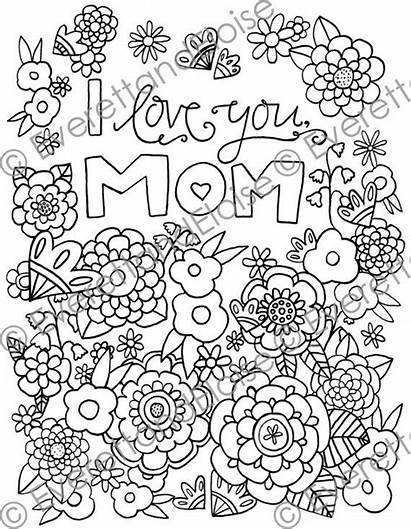 Coloring Mom Pages Digital Adult Quotes Happy