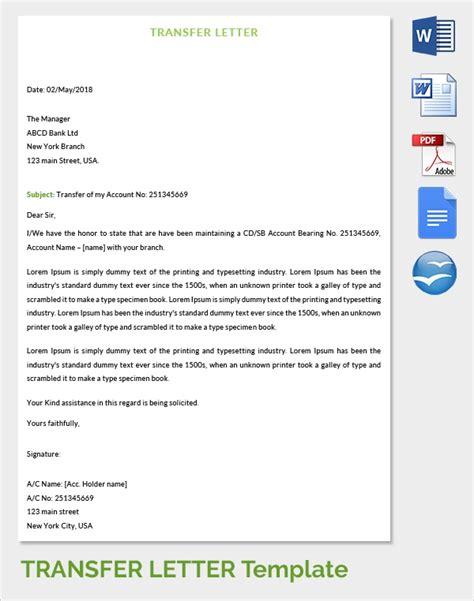 sample transfer letter  documents   word apple