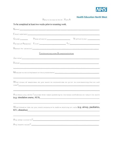44 return to work work release forms printable templates