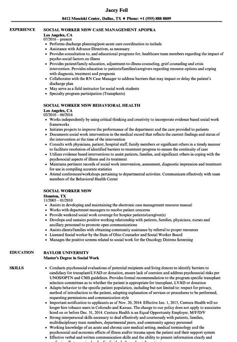 Sle Student Worker Resume by Social Worker Resume Sle With Msw Resume