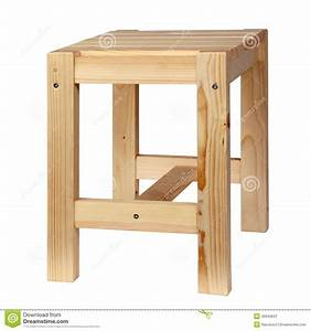 Wooden Simple Stool Stock Photo