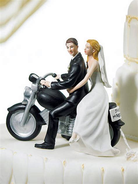 Bride And Groom Riding Motorcycle Wedding Cake Top