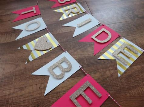 bride to be banner pink chagne gold white perfect