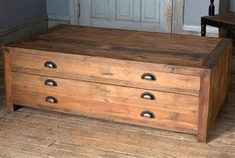 Park Hill Old Pine Map Drawer Coffee Table   NB1438