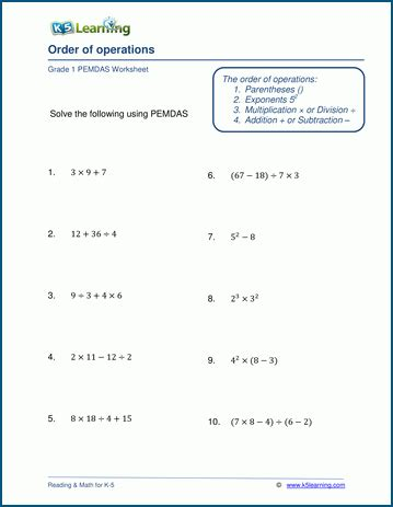 pemdas and order of operations worksheets k5 learning