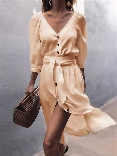 Dresses Neck Sleeve Casual Plunging Half Vestidos