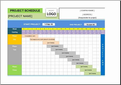 project schedule template excel    images