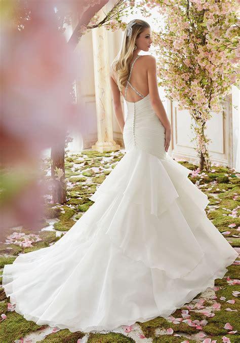 Crystal Beaded Straps On Organza Wedding Dress Style
