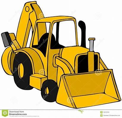 Backhoe Clipart Construction Clip Yellow Tractors Illustration