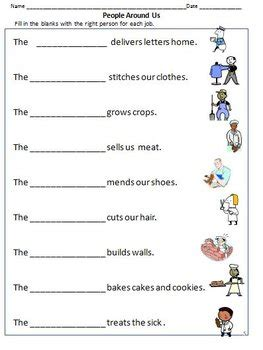 community workers helpers worksheets  grade