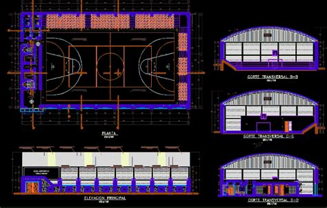 small covered multi sport arena  autocad cad