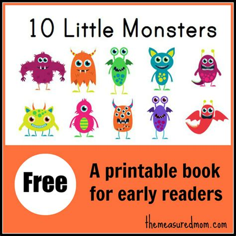 free preschool printables and s library 48 true aim 990 | 10 Little Monsters free printable book for early readers the measured mom1