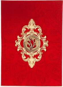 hindu wedding card in red satin with golden laser cutout With wedding invitation templates with ganesh