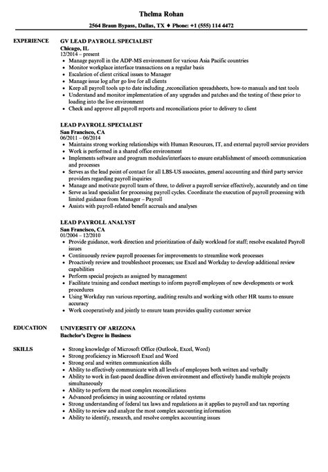 Sle Payroll Resume by 10 Payroll Administrator Resume Payment Format