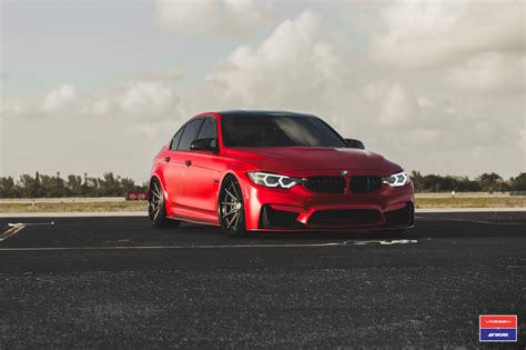 modified bmw m3 2017 bmw m3 facelift in red gets custom vossen wheels