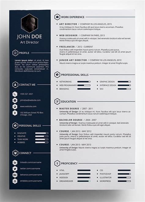 resume cv templates  ai indesign word