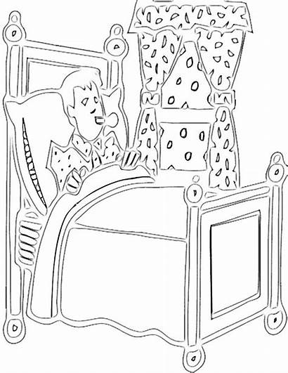 Coloring Sick Unwell Chambre Coloriage Bed Boy