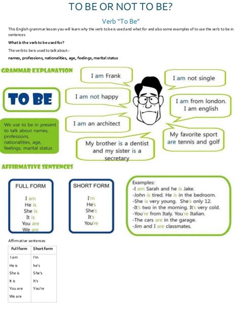 The Verb To Be Grammar