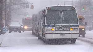 Mass Transit Operating With Delays Due To Snow Wind