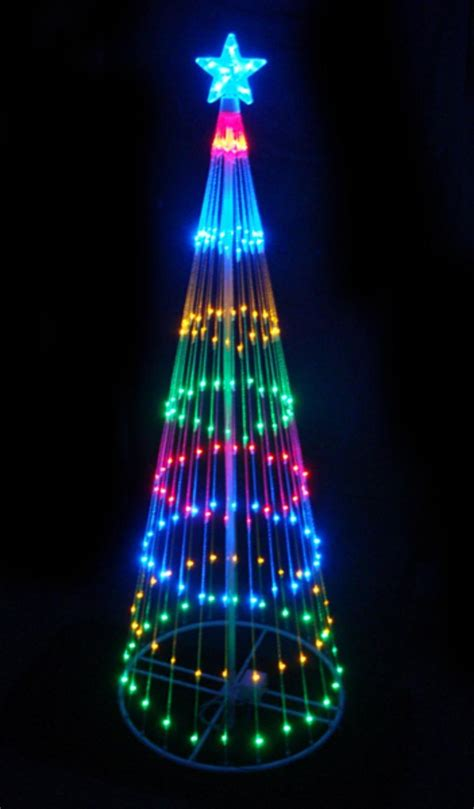 6 multi color led light show cone christmas tree just