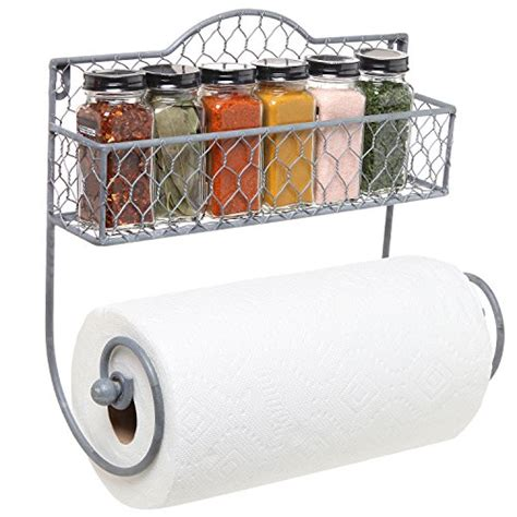 Spice Rack Paper Towel Holder wall mounted rustic gray metal kitchen spice rack paper
