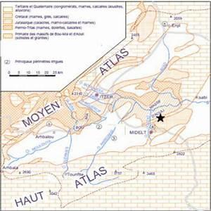 Carte G U00e9ologique De La Haute Moulouya Et Des R U00e9gions