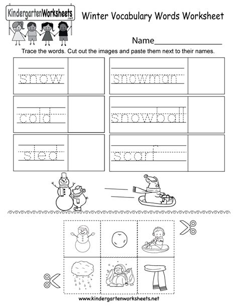 free printable winter vocabulary words worksheet for