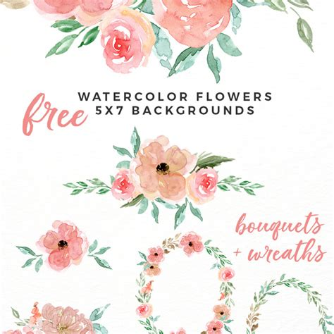 free watercolor clipart free watercolor flowers clipart floral wreaths 5x7 borders