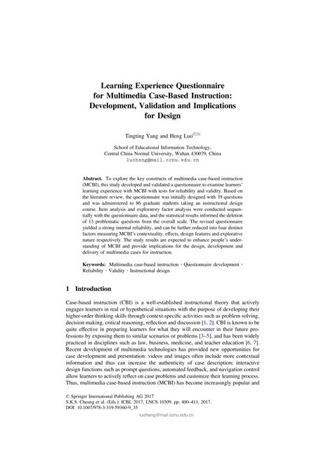 (PDF) Learning Experience Questionnaire for Multimedia