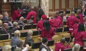 South African parliamentary session erupts in FEROCIOUS ...