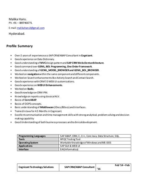 Abap Resume India by Resume Abap Crm