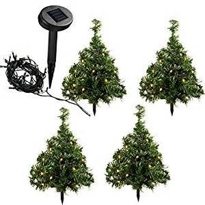 werchristmas 35 cm solar powered mini christmas trees with 10 warm white led lights decoration