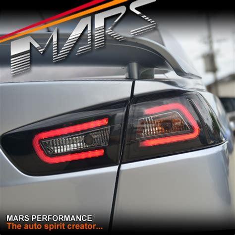 evo x tail lights jdm varis smoked black 3d led tail lights for mitsubishi