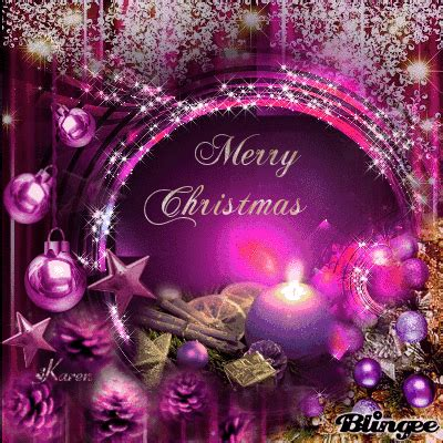merry christmas purple ornaments picture