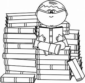 Black and White Boy Superhero Bookworm Clip Art - Black ...