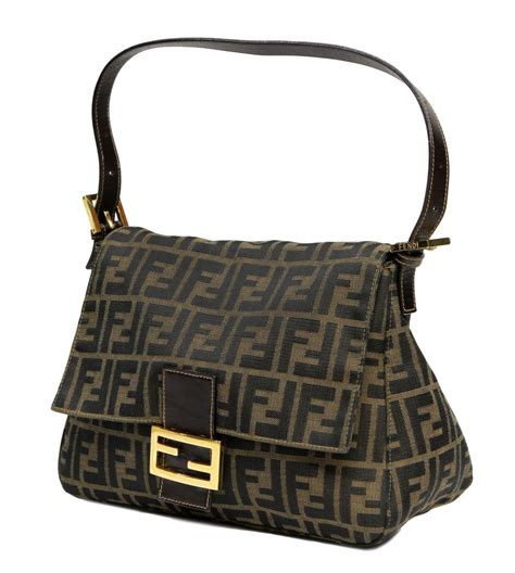 fendi zucca monogram canvas shoulder bag important