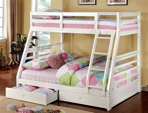 Bedroom Pink And White Solid Wood Bunk Bed For Girl
