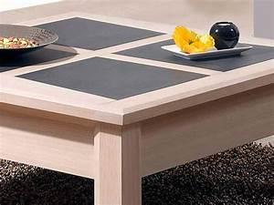 Table Bois Blanchi : table basse carr e parme en ch ne et c ramique meubles ~ Teatrodelosmanantiales.com Idées de Décoration