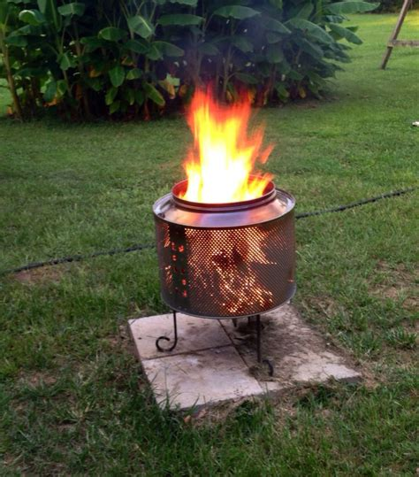 Our Diy Firepit Made From A Washer Drum  Diy Pinterest