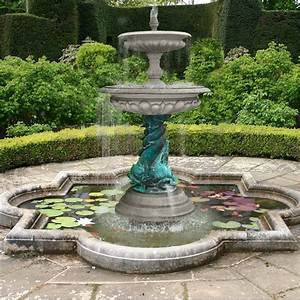 Medium, Two, Tier, Bronze, Triple, Dolphin, Fountain
